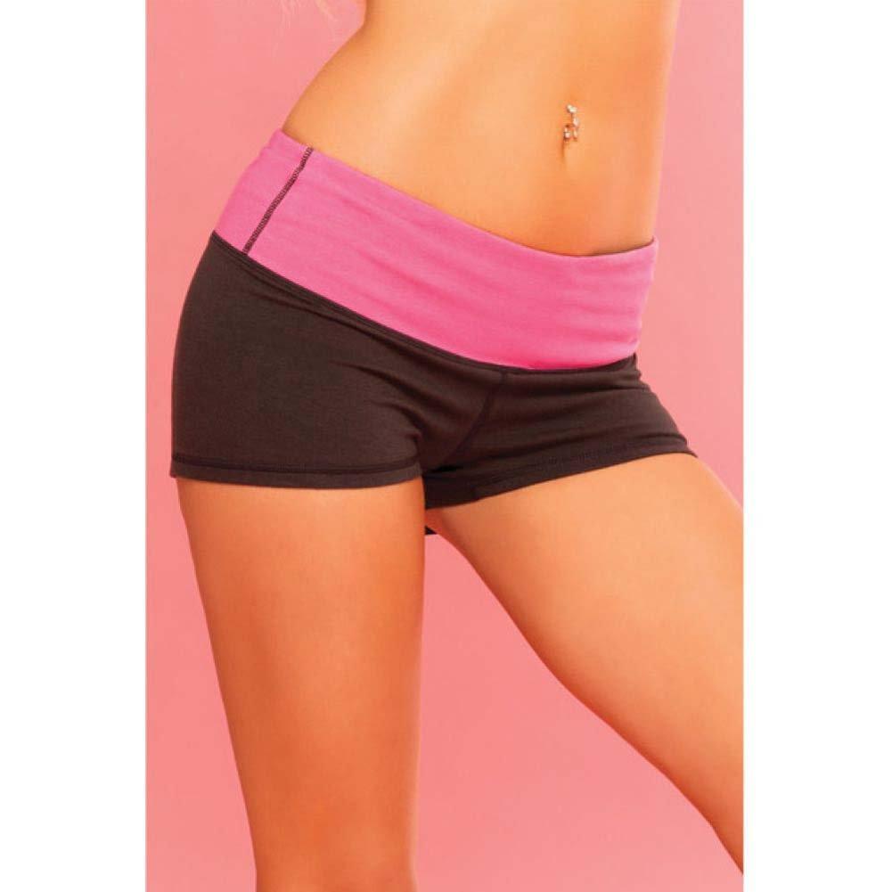 Pink Lipstick Sweat Yoga Shorts Small Black - View #4