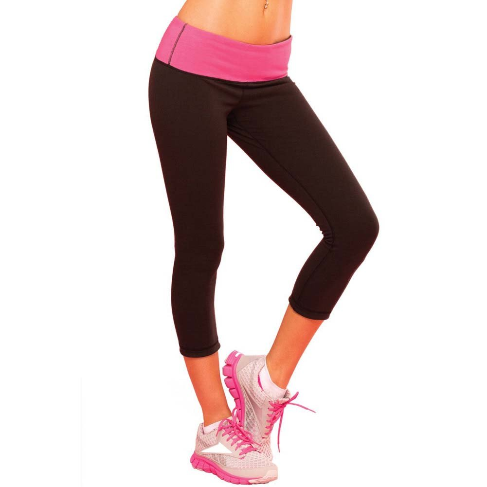 Pink Lipstick Sweat Yoga Pants Thick Reversible Supprt and Compression with Pocket Large Black - View #1
