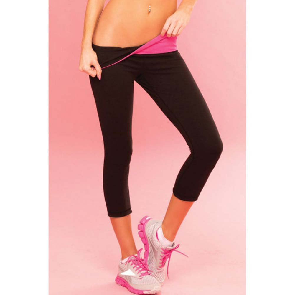 Pink Lipstick Sweat Yoga Pants Thick Reversible Supprt and Compression with Pocket Large Black - View #3
