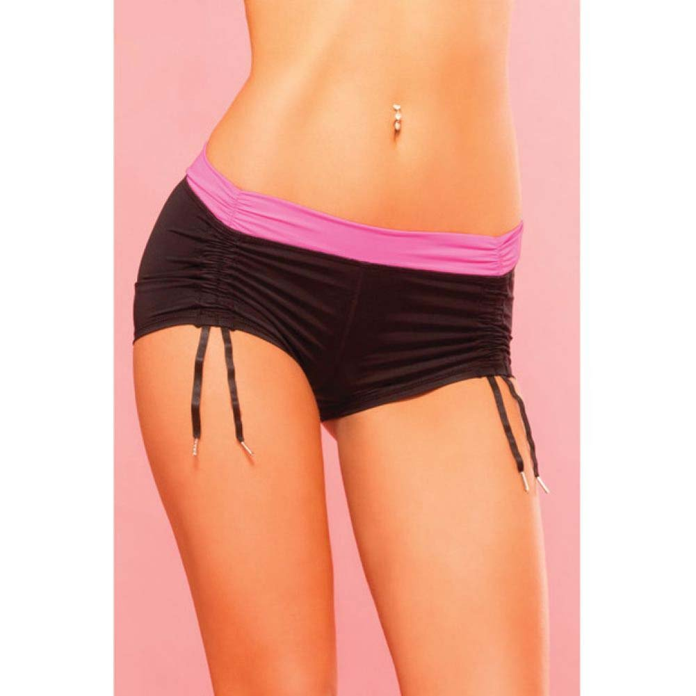 Pink Lipstick Sweat Fitness Cinchable Hot Shorts Medium Black - View #3