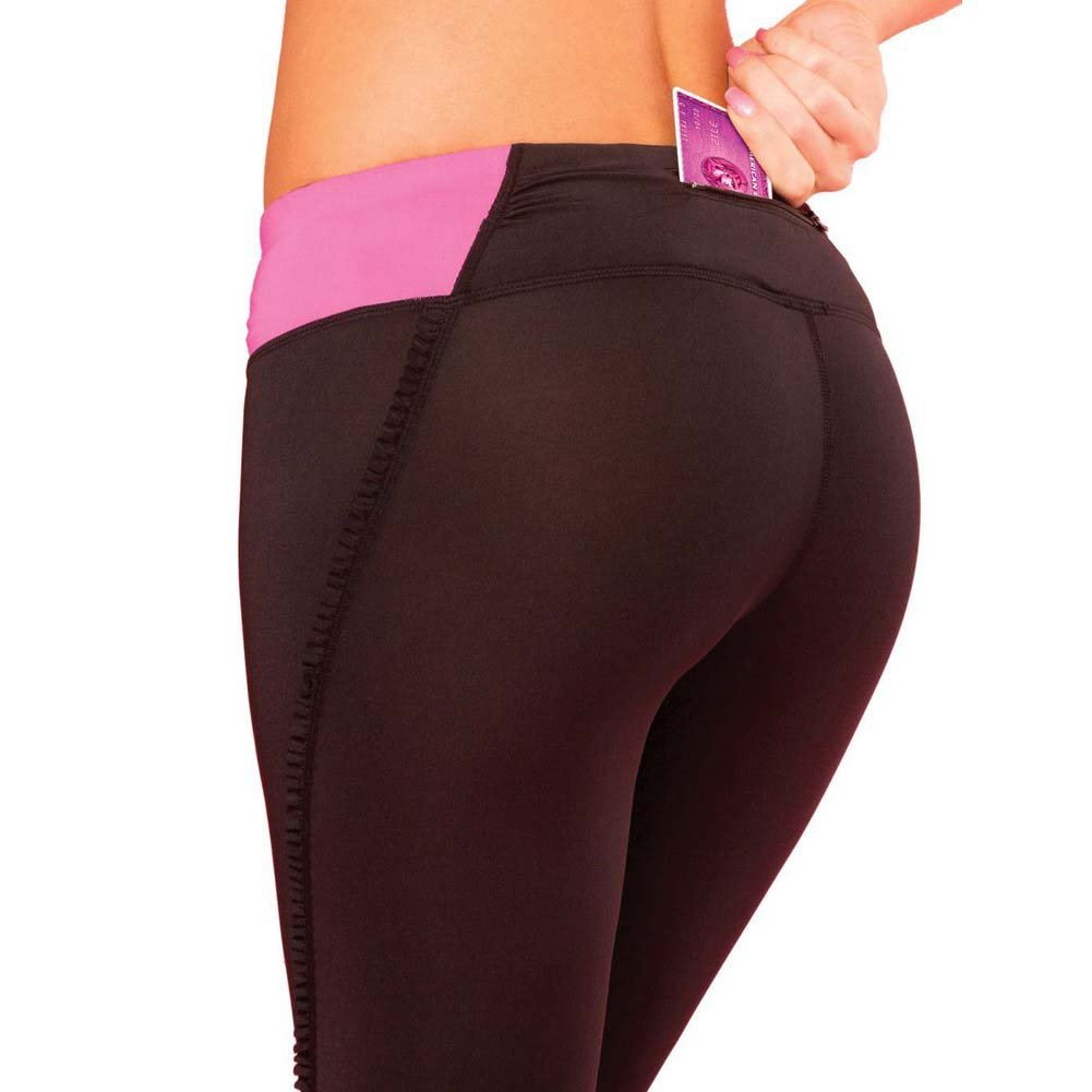 Pink Lipstick Sweat Fitness Pant Ruffle Cropped Pants with Fringe Side and Pocket Large Black - View #2