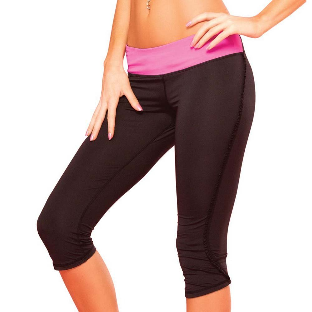 Pink Lipstick Sweat Fitness Pant Ruffle Cropped Pants with Fringe Side and Pocket Medium Black - View #1