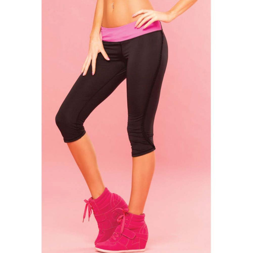 Pink Lipstick Sweat Fitness Pant Ruffle Cropped Pants with Fringe Side and Pocket Medium Black - View #3