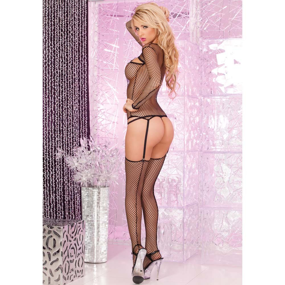 Pink Lipstick 3 Piece Fishnet Garter Top G-String and Thigh Set Medium/Large Black - View #2