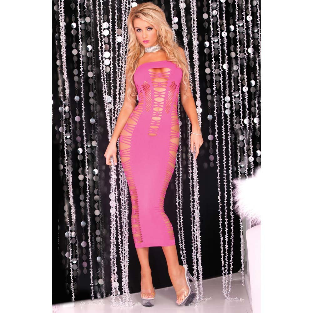 Pink Lipstick Seamless Slit Tube Dress One Size Pink - View #3