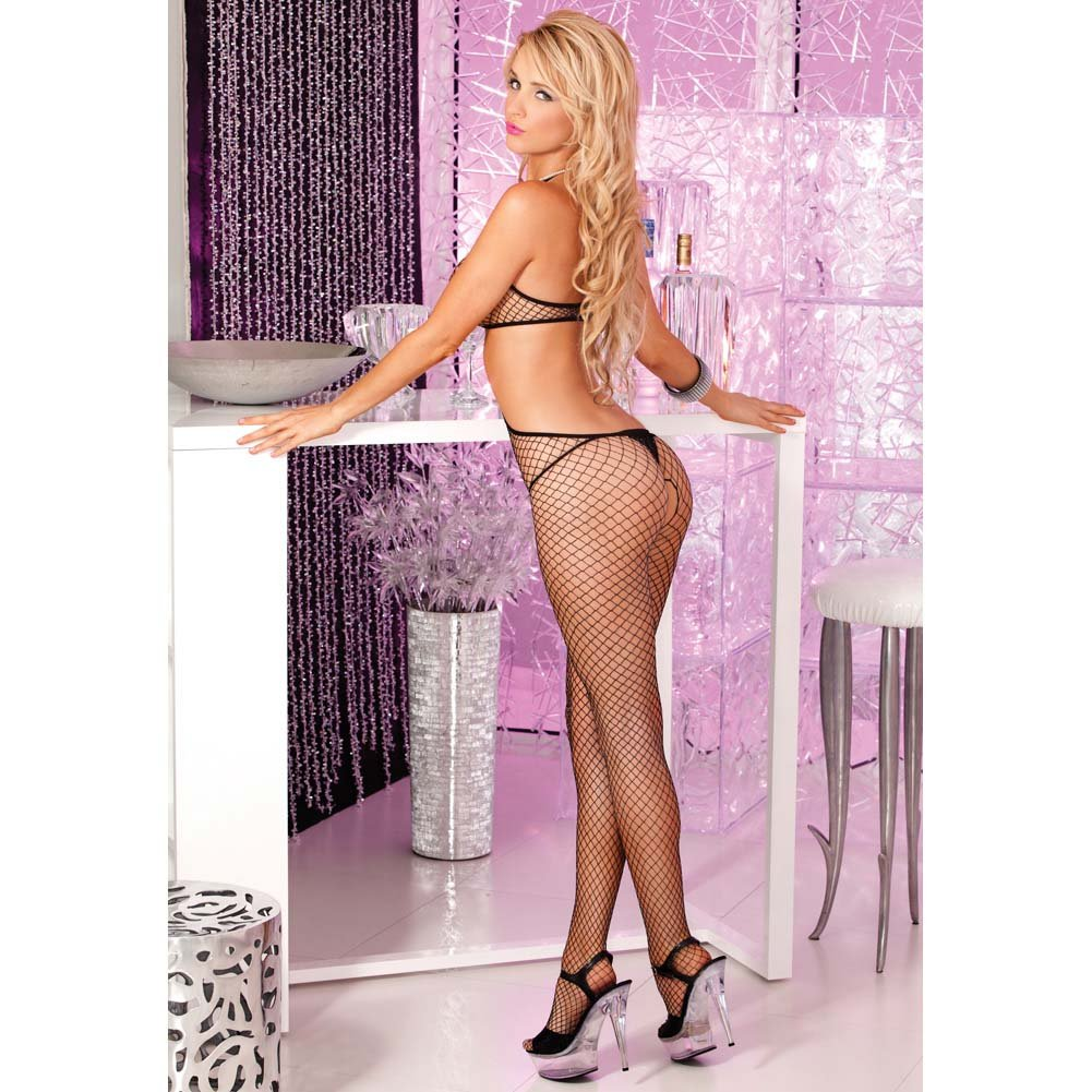 Pink Lipstick O-Ring Fishnet Bodystocking One Size Black - View #2