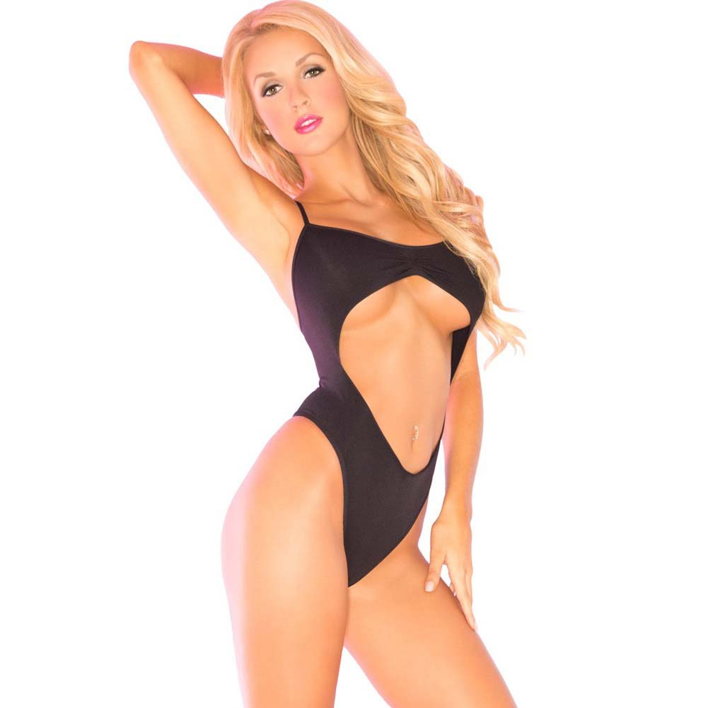 Pink Lipstick Babewatch Seamless Bodysuit One Size Black - View #1