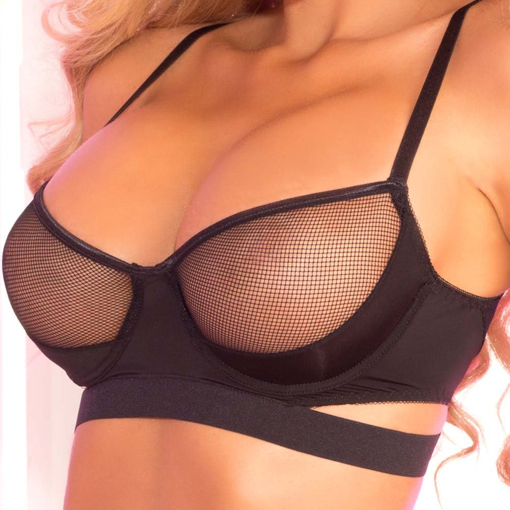 Pink Lipstick Trap Straps Sexy Fishnet Bra Set Small/Medium Black - View #3