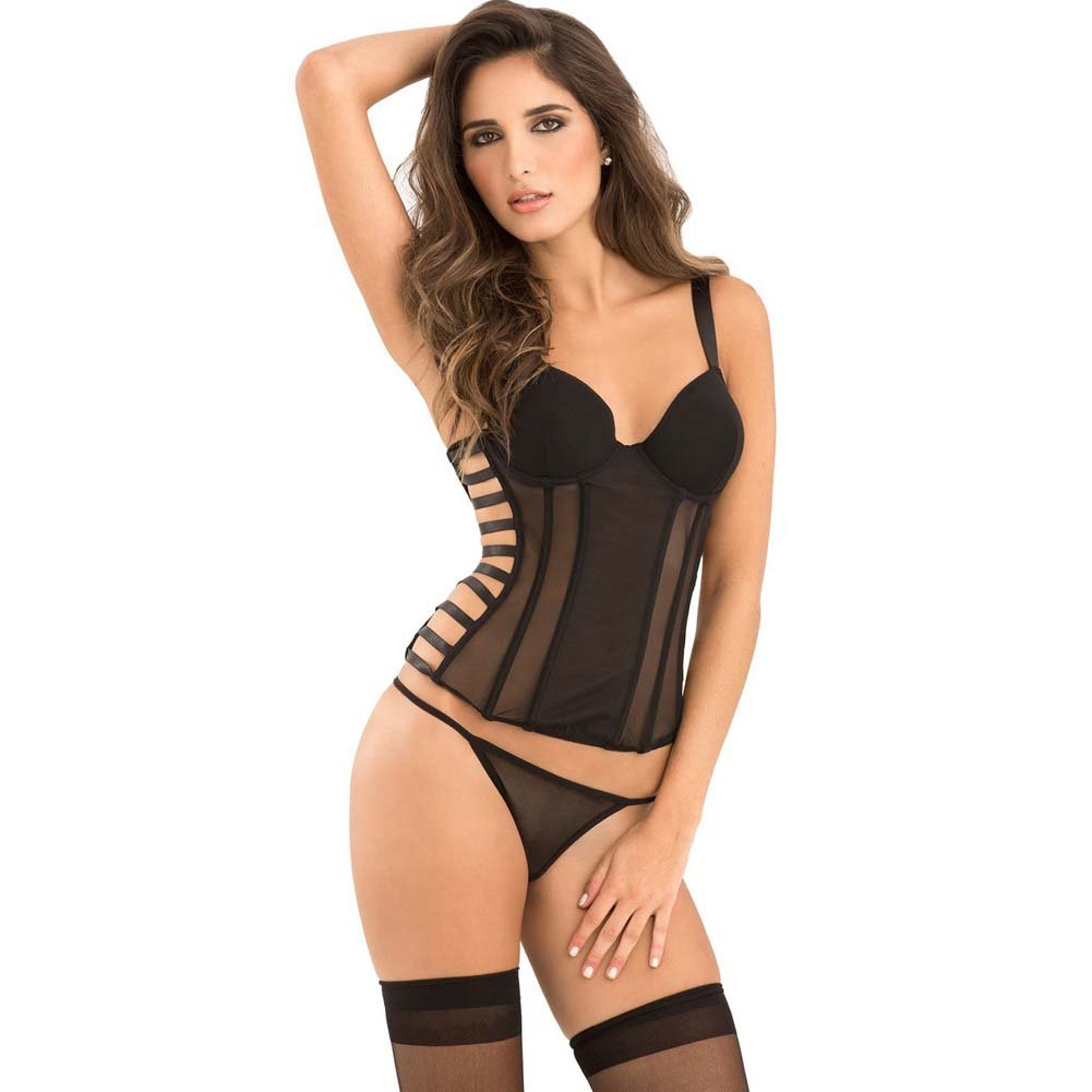 Rene Rofe Signature Bustier with Cage Detail Removable Garters and G-String Medium Black - View #1