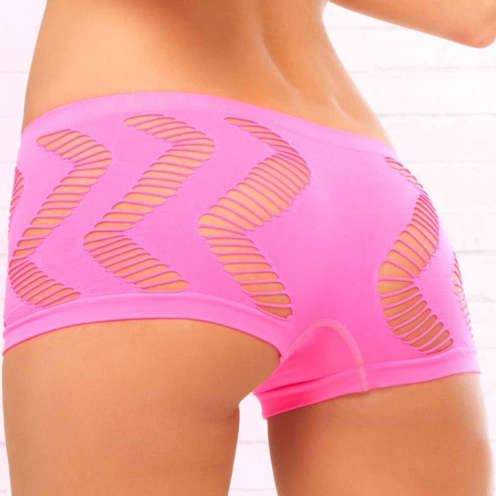 Pink Lipstick Side Game Seamless Bandeau and Booty Shorts Set One Size Pink - View #4