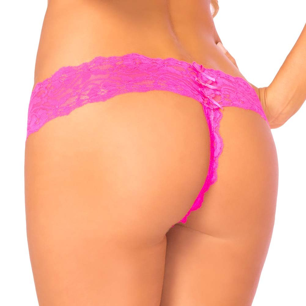 Pink Lipstick Fancy Schmancy Lace Thong Medium/Large Pink - View #2