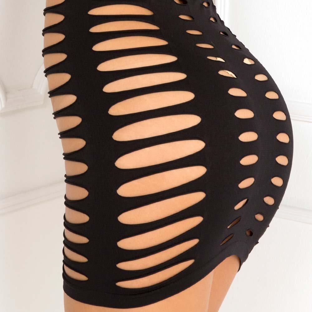 Rene Rofe Sexy Side Slash Seamless Dress Medium/Large Black - View #4
