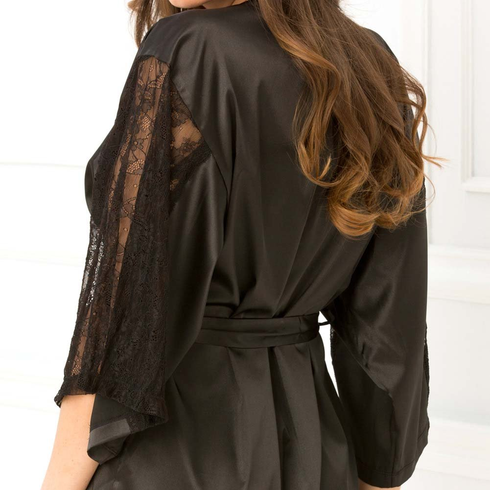 Rene Rofe Satin Robe with Lace Sleeves Small/Medium Black - View #3