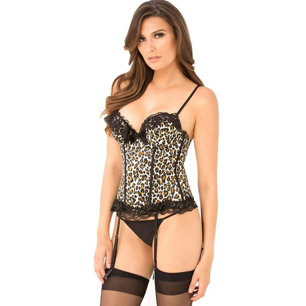 Rene Rofe Signature Bustier with Boning Removable Garters and G-String Large Leopard - View #1