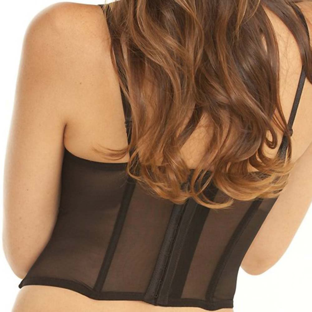Rene Rofe Signature Nude Ambition Midriff-Baring Bustier and G-String Extra Large Black - View #4