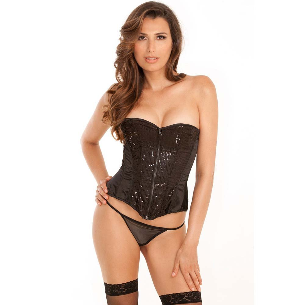 Rene Rofe Signature Starlight Dancer Corset with Contoured Boning and G-String Large Black - View #1