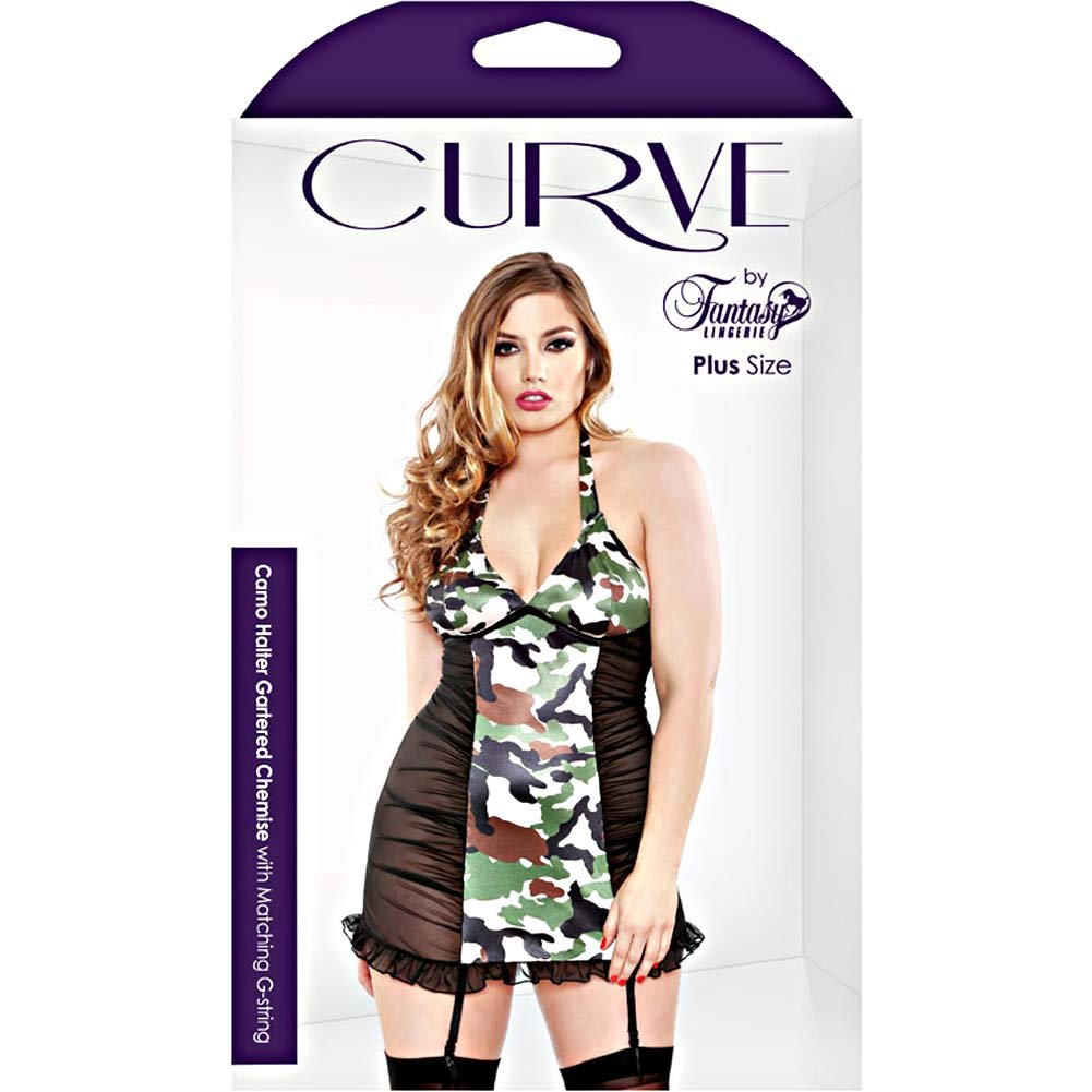 Fantasy Lingerie Halter Gartered Chemise with Matching G-String 1X/2X Black/Camo - View #3