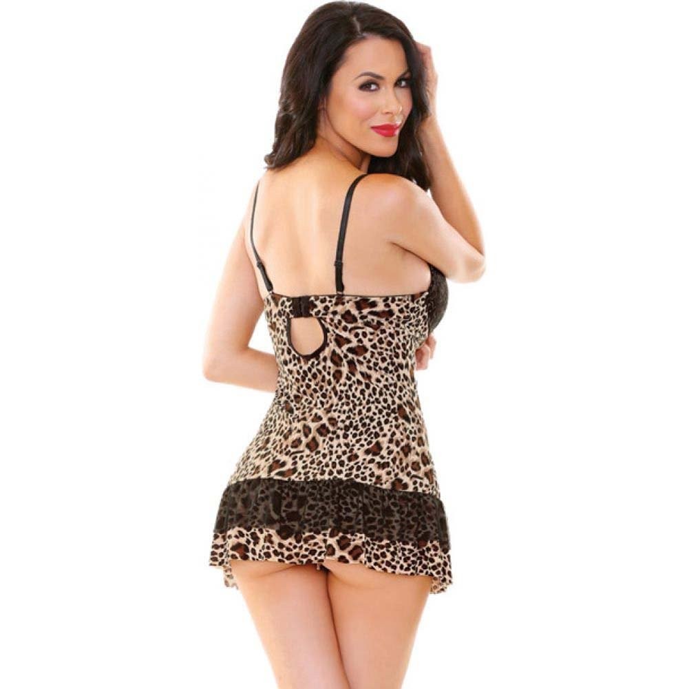 Fantasy Lingerie Babydoll and G-String Set Medium/Large Leopard - View #2