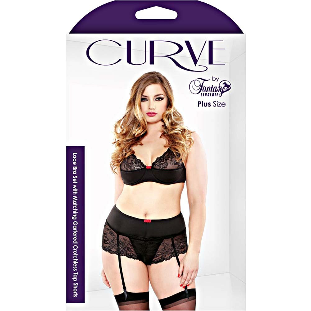 Fantasy Lingerie Lace Bra Set with Matching Gartered Crotchless Tap Shorts 3X/4X Black - View #3