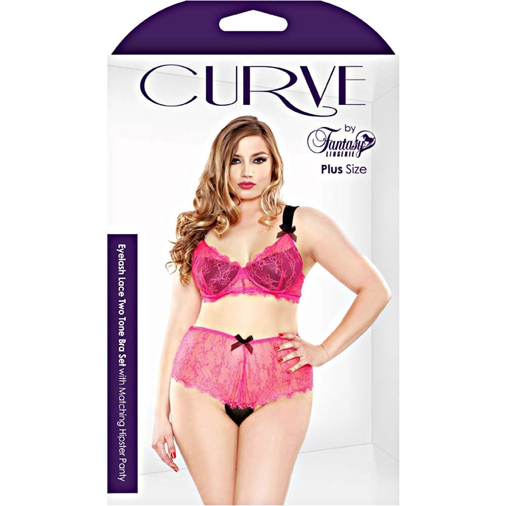 Fantasy Lingerie Curve Eyelash Lace Two Tone Bra Set with Matching Hipster Panty 3X/4X Hot Pink - View #3
