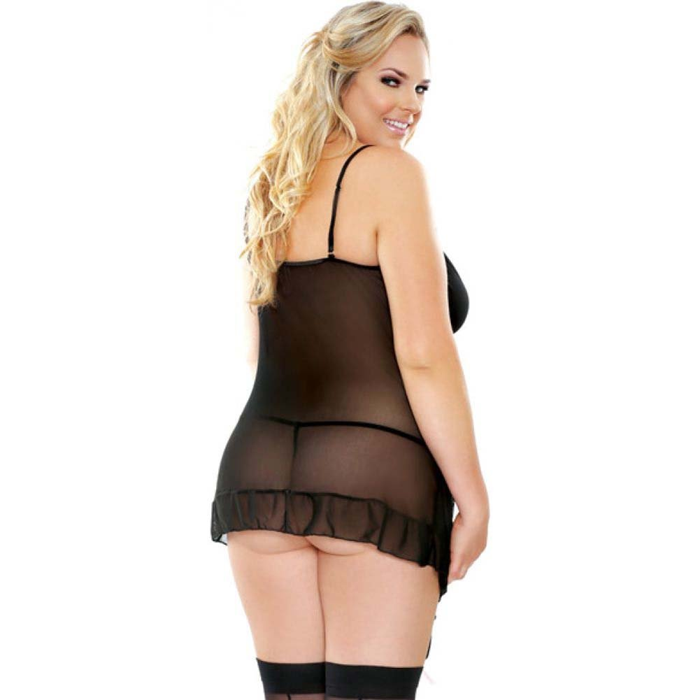 Fantasy Lingerie Shirred Side Gartered Chemise with Matching G-String 1X/2X Black - View #2