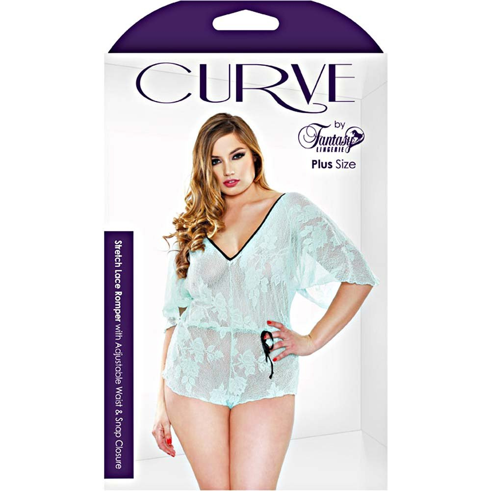 Fantasy Lingerie Stretch Lace Romper with Adjustable Waist and Snap Closure 1X/2X Seafoam - View #3