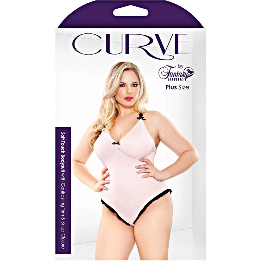 Fantasy Lingerie Curve Soft Touch Bodysuit with Contrasting Trim and Snap Closure 1X/2X Soft Pink - View #3