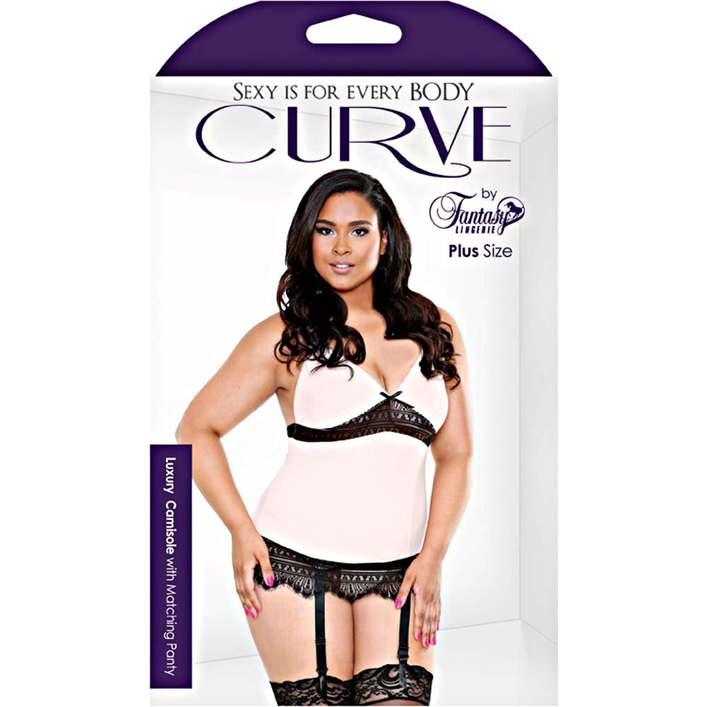 Fantasy Lingerie Curve Camisole with Garter and Thong 1X/2X Blush - View #3