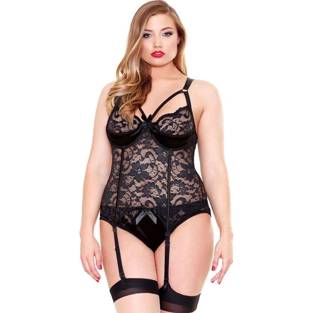 Fantasy Lingerie Lace and Satin Bustier Garter and Panty Set 3X/4X Black - View #1