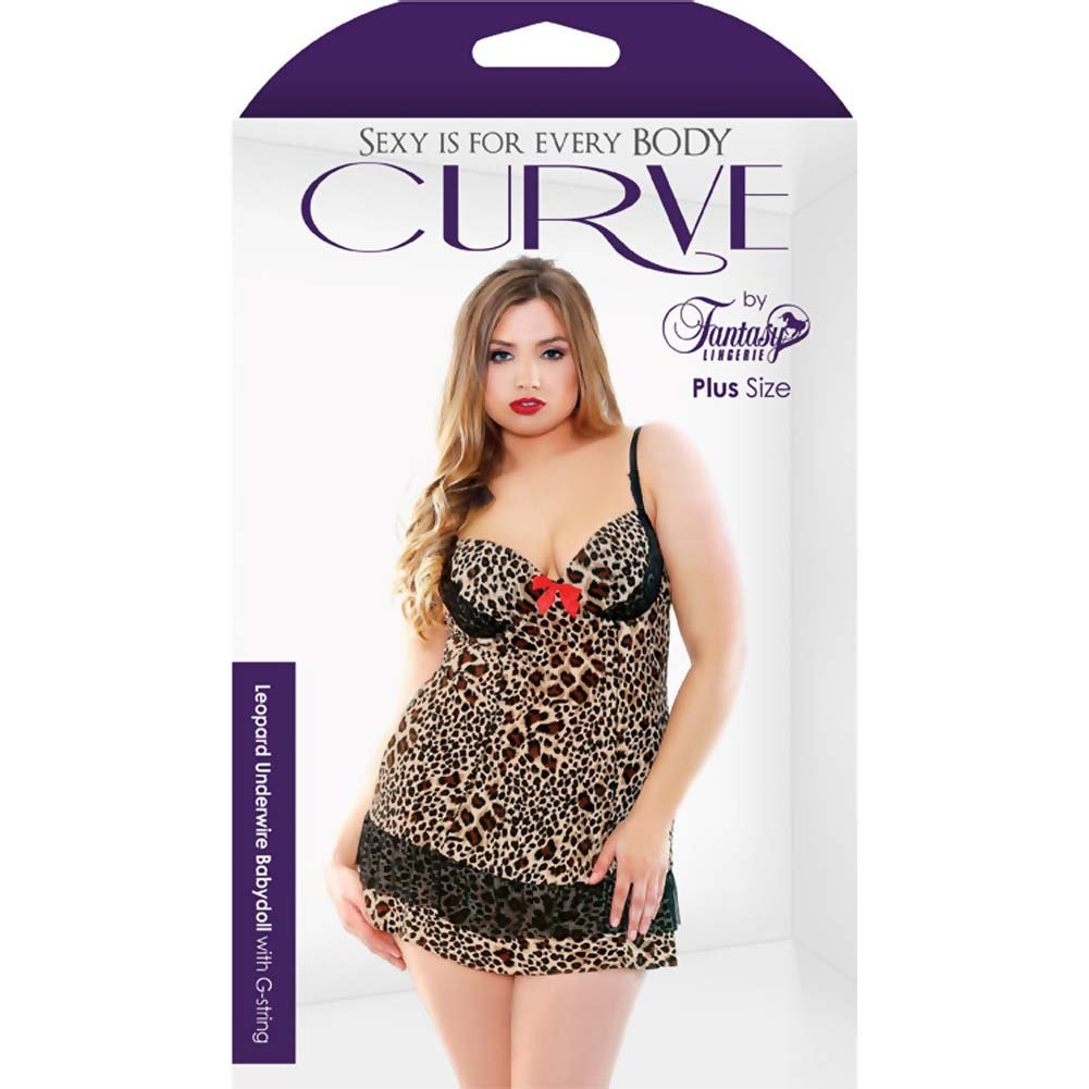 Fantasy Lingerie Leopard Print Underwire Babydoll with G-String 3X/4X Leopard - View #3