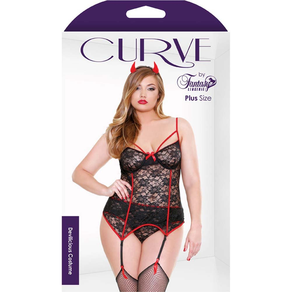 Fantasy Lingerie Curve Red Hot Devilicious Costume with Bustier Panty and Horns 3X/4X Black/Red - View #3