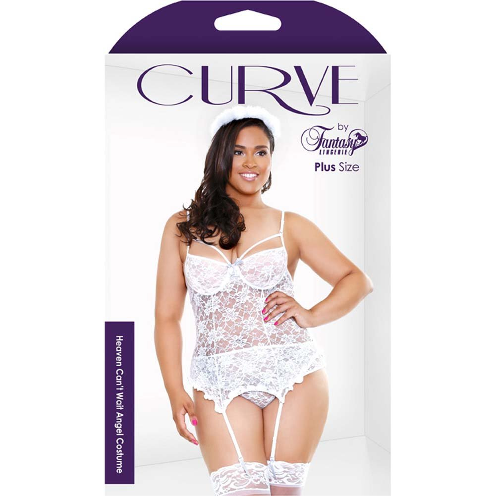 Fantasy Lingerie Curve Heaven CanT Wait Angel Costume with Halo 3X/4X White - View #3