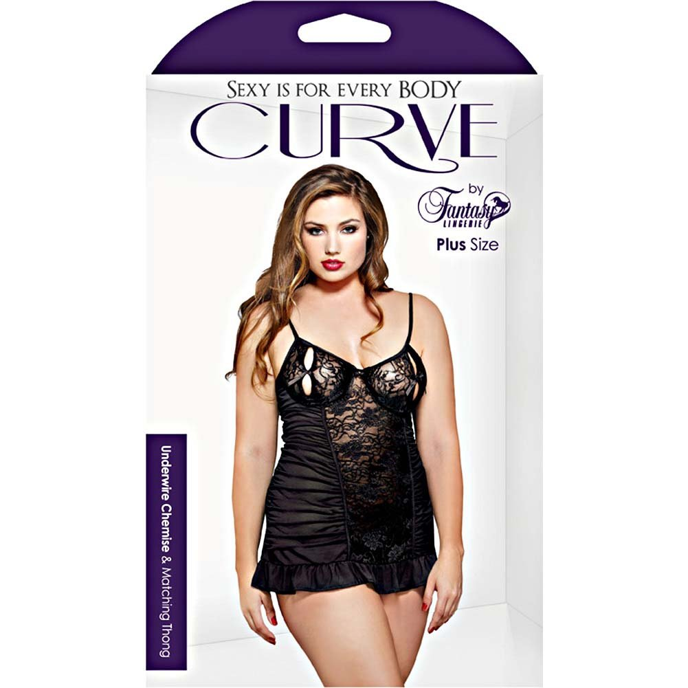 Fantasy Lingerie Curve Underwire Split Cup Chemise and Thong 1X/2X Black - View #3