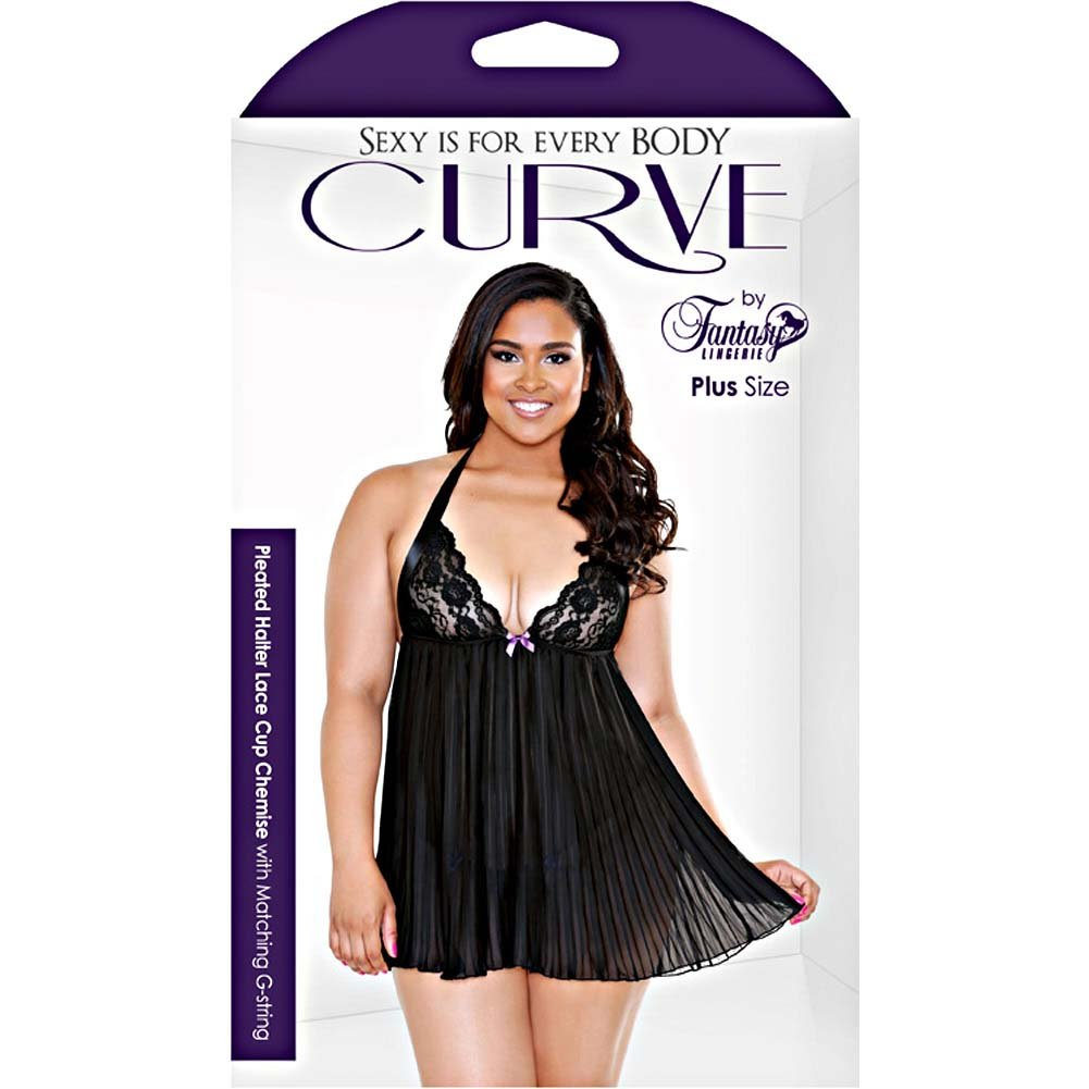 Fantasy Lingerie Pleated Halter Lace Up Cup Chemise Set 1X/2X Black - View #3
