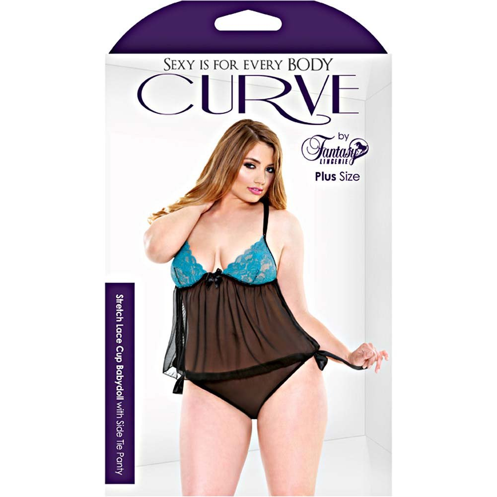 Fantasy Lingerie Curve Stretch Lace Babydoll 1X/2X Teal - View #3
