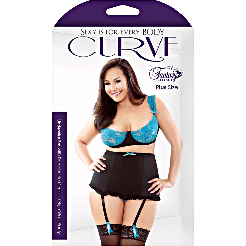 Fantasy Lingerie Stretch Lace Underwire Bra with High Waisted Panty 1X/2X Black/Teal - View #3