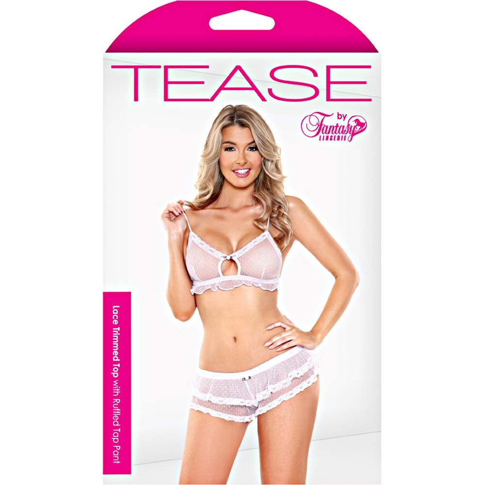 Fantasy Lingerie Tease Lace Trimmed Top with Tap Panties Medium/Large White - View #3