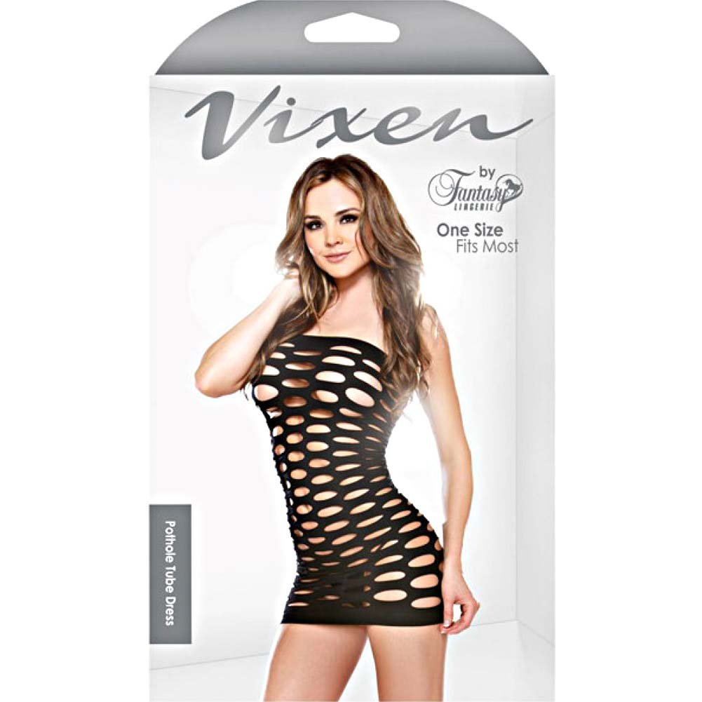 Fantasy Lingerie Tight-Fitting Mini Pothole Dress One Size Black - View #3