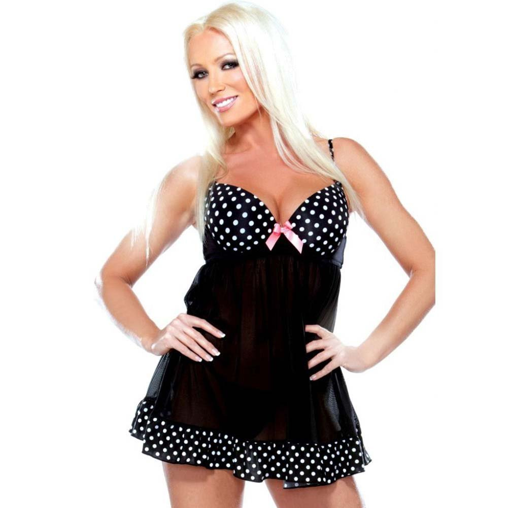 Fantasy Lingerie Tease Underwire Babydoll with Polka Dot Detail and G-String Medium/Large Black - View #1
