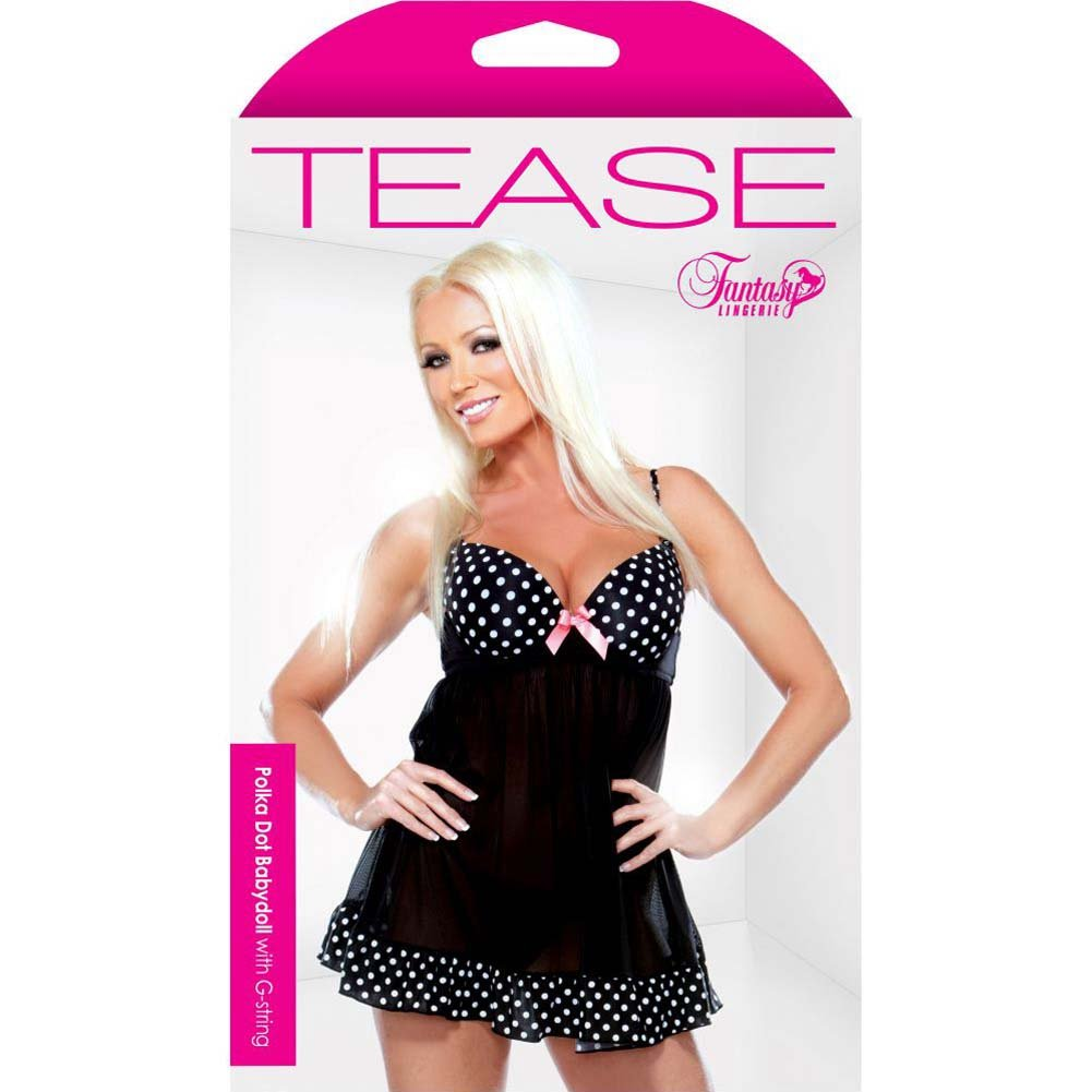 Fantasy Lingerie Tease Underwire Babydoll with Polka Dot Detail and G-String Medium/Large Black - View #3
