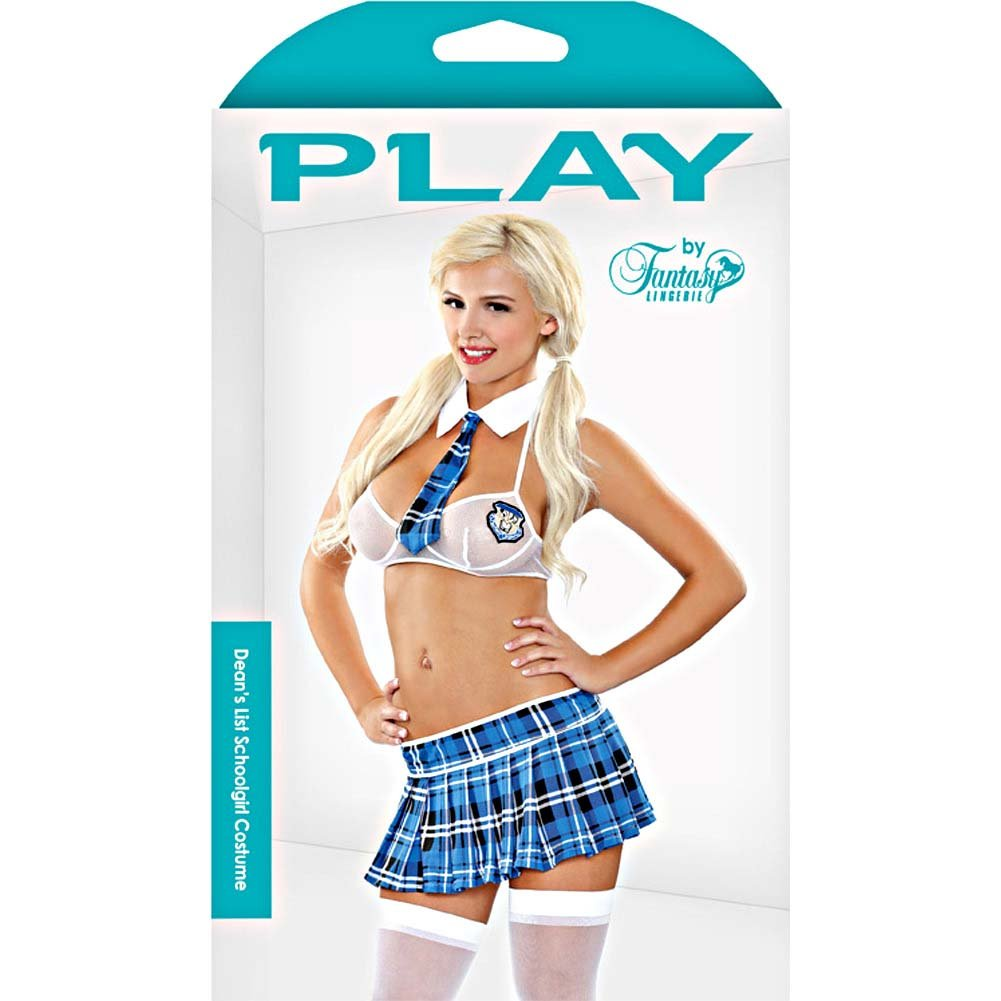 Fantasy Lingerie DeanS List Schoolgirl Bedroom Costume Medium/Large Blue/White - View #3