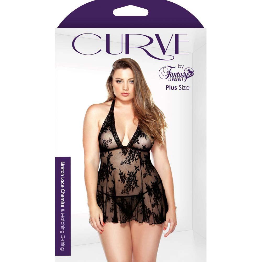Fantasy Lingerie Curve Stretch Lace Chemise and Matching G-String 1X/2X Black - View #3