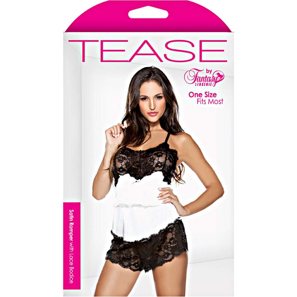 Satin Romper with Lace Bodice - Pearl-Black - One Size - View #3