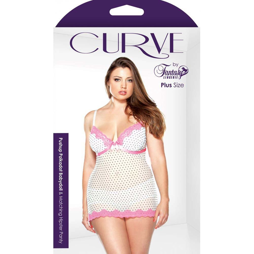 Fantasy Lingerie Curve Underwire Polka Dot Babydoll and G-String Set 1X/2X Pink/White - View #3