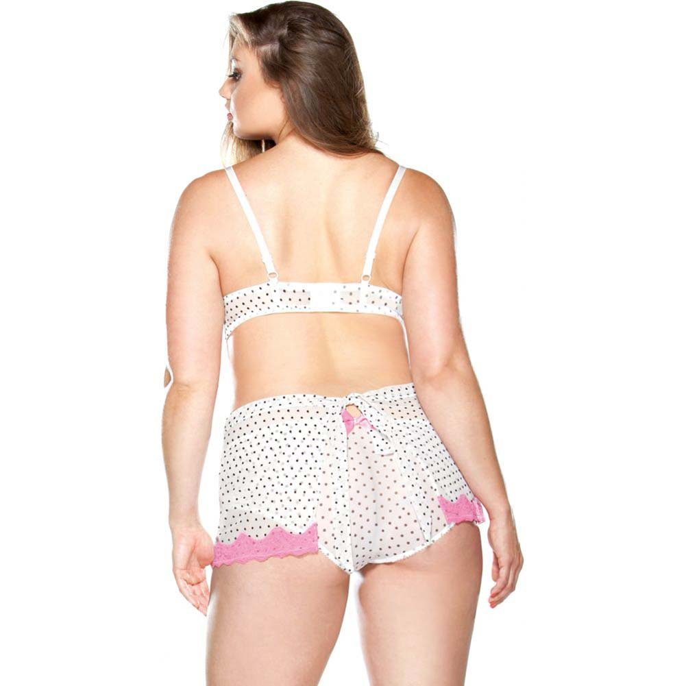 Fantasy Lingerie Curve Underwire Polka Dot Babydoll and G-String Set 3X/4X Pink/White - View #2