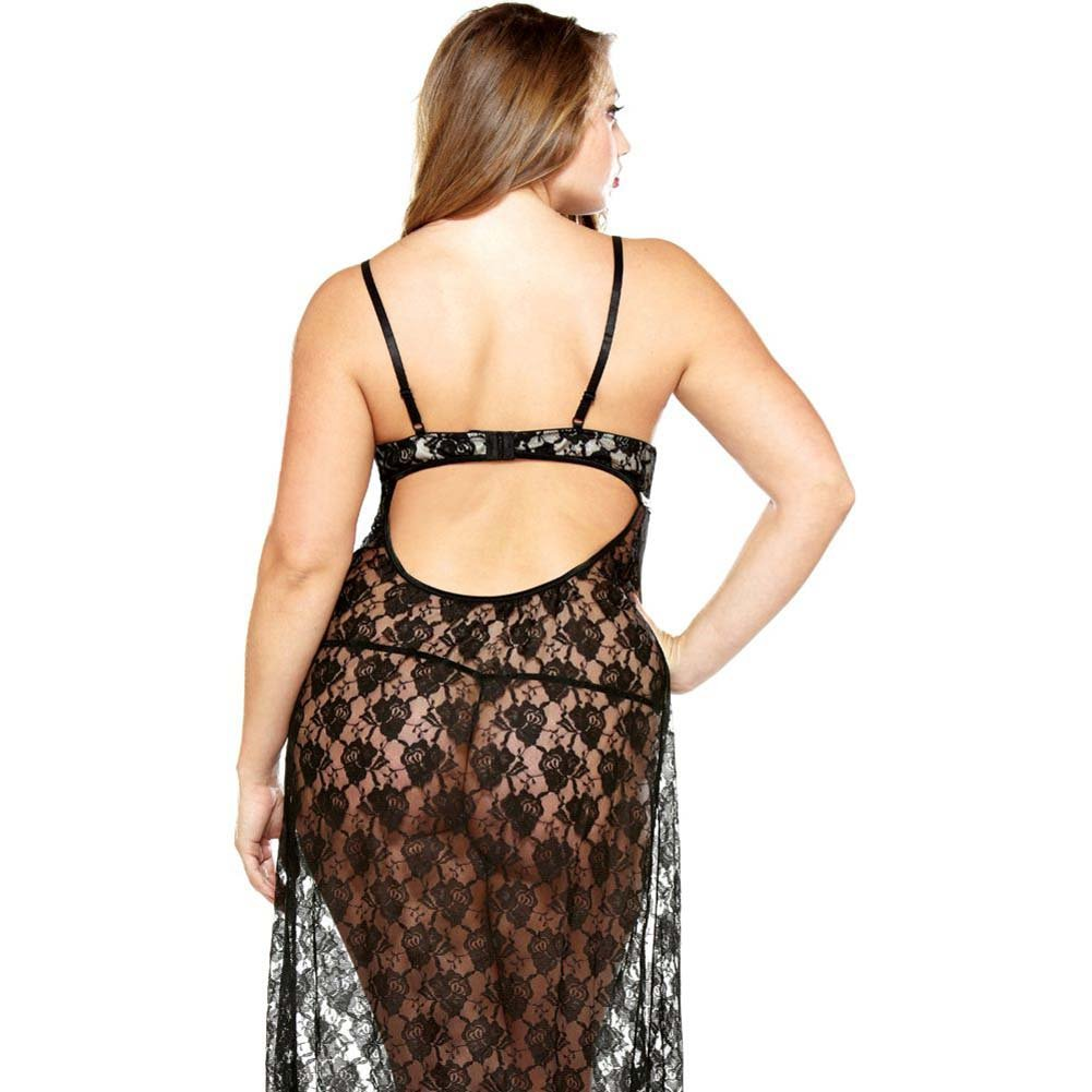 Fantasy Lingerie Curve Underwire Lace Gown and Matching G-String Plus Size 3X/4X Black - View #2