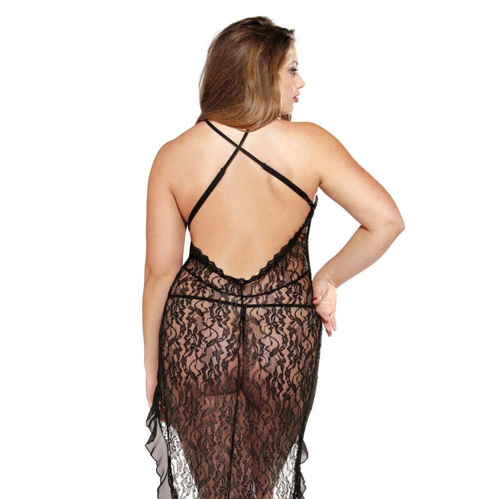 Fantasy Lingerie Curve Asymmetrical Lace Dress and G-String Plus Size 1X/2X Black - View #2