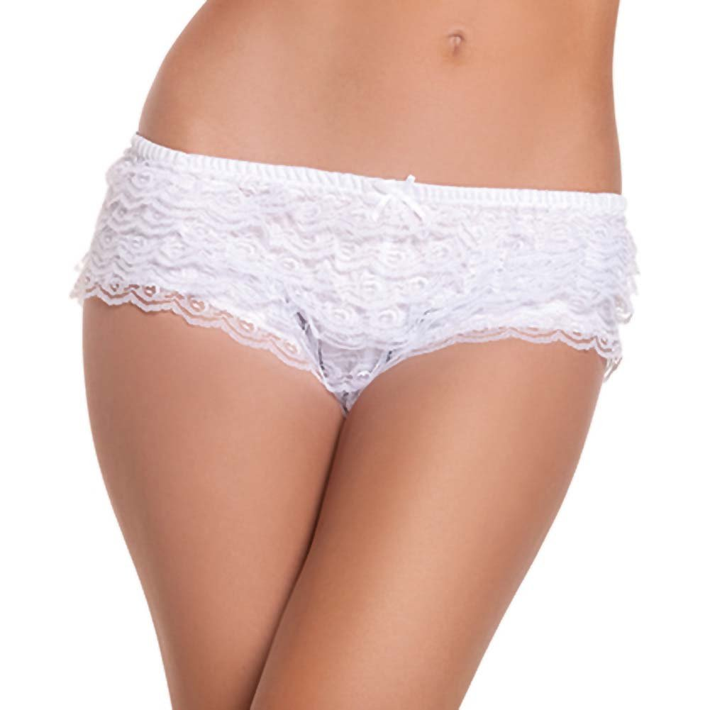 Be Wicked Ruffle Hot Pants White Small - View #1