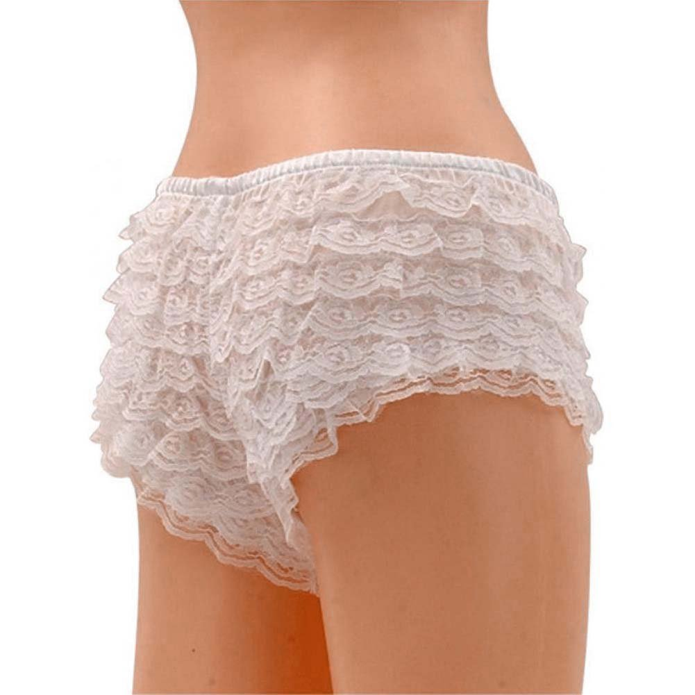 Be Wicked Ruffle Hot Pants White Medium - View #2