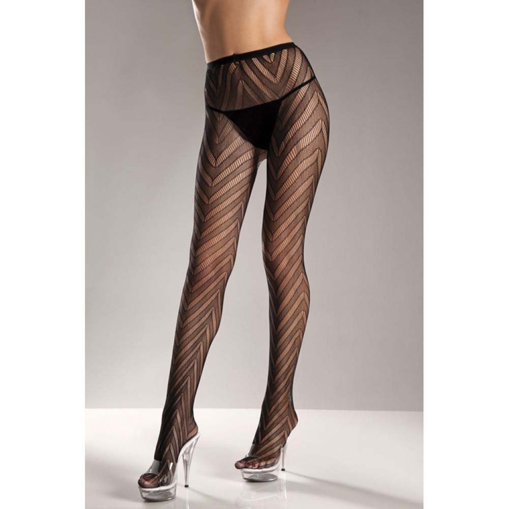Designed Chevron Pattern Lycra Lace Pantyhose Black Plus Size - View #2